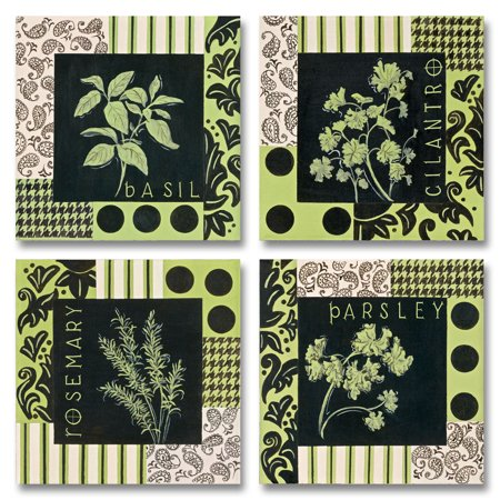 Herbal Zest I Parsley, Basil, Rosemary and Cilantro; Kitchen Decor; Four 12X12 Poster Prints, Green, Black, Beige...](Halloween Black Light Posters)