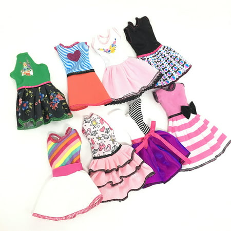 Doll's Fashionable Clothing Set Casual One-piece Dress for Dolls Doll Style Random Style:8 pcs for a set Height:29cm - image 6 de 6