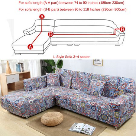 Sofa Covers For L Shape 2pcs Polyester Fabric Stretch Slipcovers 3 Seater 70 90 4 115 Pillow Sectional