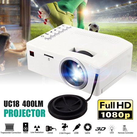 UNIC Mountable 1080P HD Mini LED Portable Video Projector Multimedia LCD LED Home Theater Cinema USB TV HDM SD AV for TV Laptop, PC, DVD, Gaming Consoles SPEAKER/HEADPHONE