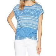 White Womens Printed Twist Hem Knit Top XS