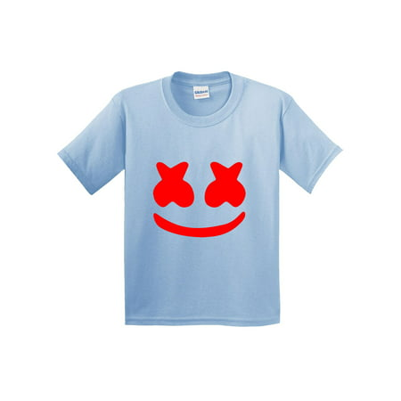 Trendy USA 1124 - Youth T-Shirt Marshmello DJ Smiley Face Large Light Blue