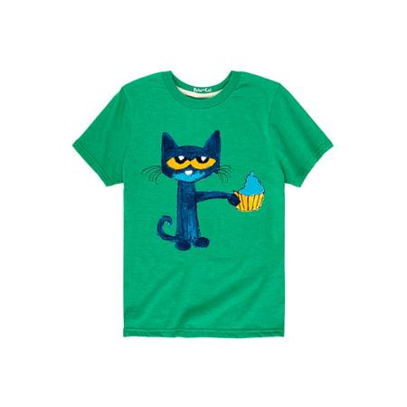 Cupcake Short Sleeve Shirt (Pete The Cat Messy Cupcake  - Toddler Short Sleeve Tee)