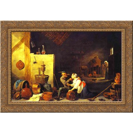 An Old Peasant Caresses a Kitchen Maid in a Stable 24x18 Gold Ornate Wood Framed Canvas Art by David Teniers the Younger ()