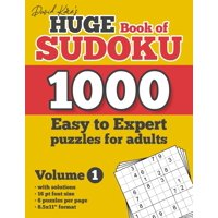 """David Karn's Huge Book of Sudoku - 1000 Easy to Expert puzzles for adults, Volume 1: with solutions, 16 pt font size, 6 puzzles per page, 8.5x11"""" format (Paperback)"""
