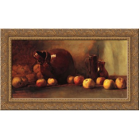 Still Life Jug with Fruit 24x16 Gold Ornate Wood Framed Canvas Art by Guy