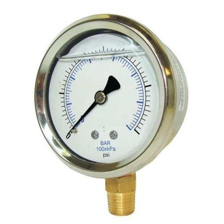 - PIC GAUGES 201L-404M Pressure Gauge, Liquid, 4 In., 1000 psi