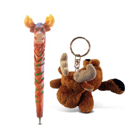 Puzzled Moose Planet Pen and Plush Keychain - Animals \ Wild Animals Theme - - Live Animal Keychain