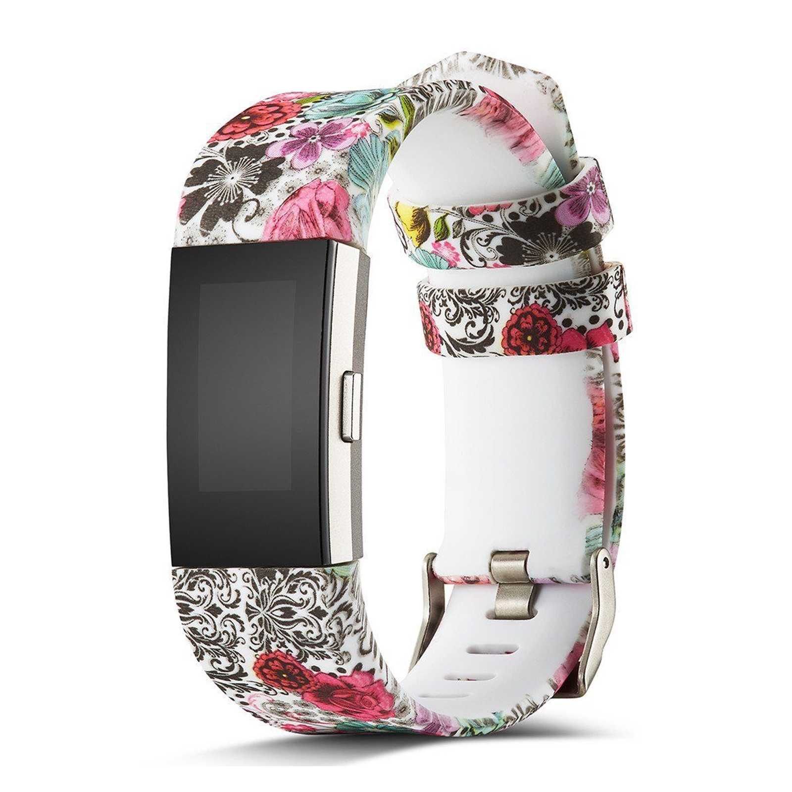 Compatible with Fitbit Charge 2 Bands, EEEKit Adjustable Replacement Smart Watch Sport Strap Printed Flowers Wristband Bracelet Band for Fitbit Charge 2