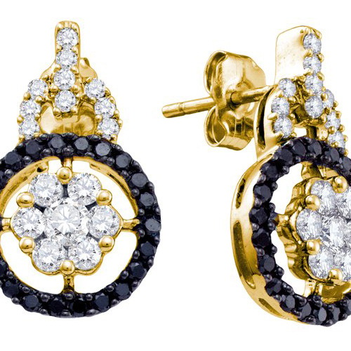 14K Yellow Gold 1.09CT Black Round Cut Diamond Double Hoope Fashion Earring