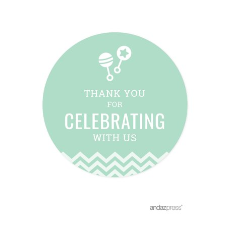 Original Near Mint Sticker (Thank You For Celebrating With Us! Mint Green Chevron Baby Shower Round Circle Label Stickers,)