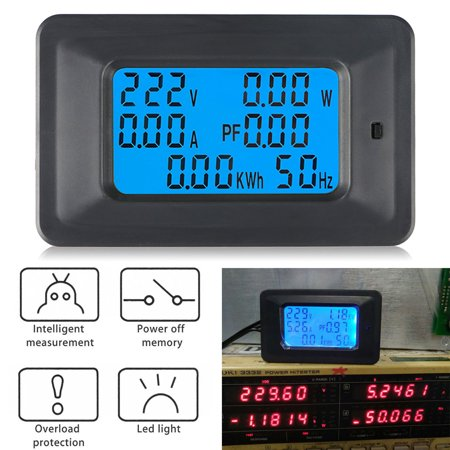100A AC 110V-250V LCD Digital Panel Current Voltage Power Energy Multimeter  Test KWh Voltmeter Ammeter with AC Current Transformer