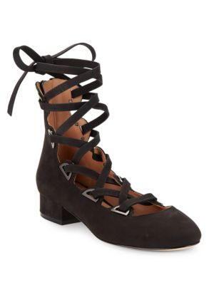 Hea Lace-Up Suede Heels
