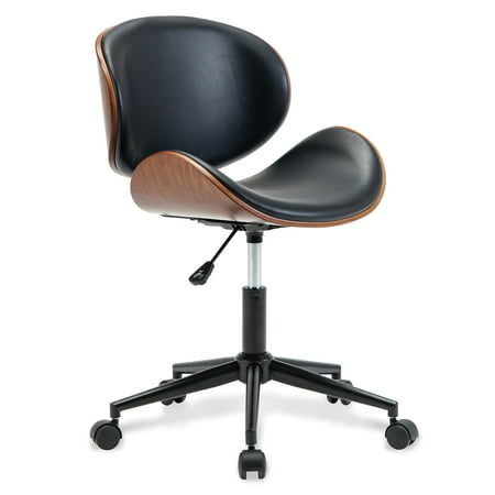 BELLEZE Adjustable Modern Bonded Leather Chrome Metal Swivel Office Desk Chair
