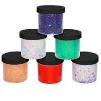 Slime Storage Jars 12oz (6 Pack) - Clear Containers For All Your Glue Putty Making