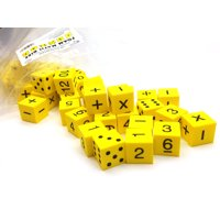 """Pack of 50 Yellow 1"""" 25mm Foam Math Dice - Assorted Function, Spots, and Numbers"""