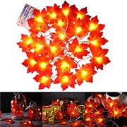 Fall Maple Leaf String Lights, 9.8 Feet 20 LEDs 3AA Battery Operated Fall Leaves Fairy Lighted Garland Light Up Fall Decor, Perfect for Christmas Thanksgiving Party Indoor Outdoor
