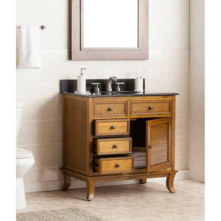 Southern Enterprises Walberg Single Bath Vanity Sink with Granite Top, Oak Dresden Bath Vanity