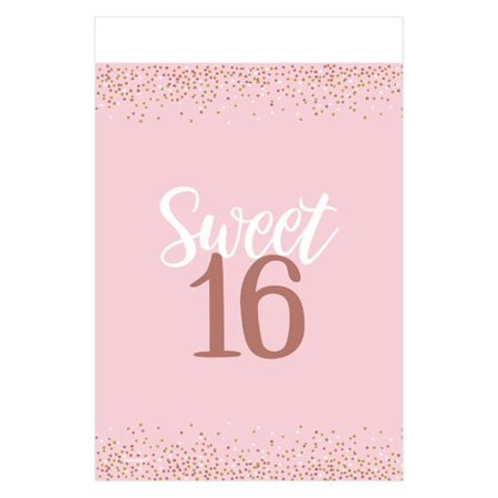 Sweet 16 'Blush' Plastic Table Cover (1ct) (Sweet 16 Table Ideas)