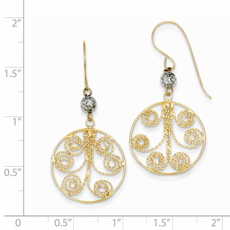 14k Two Tone Yellow Gold Circle Swirl Drop Dangle Chandelier Earrings Fine Jewelry For Women Valentines Day Gifts For Her - image 4 de 6