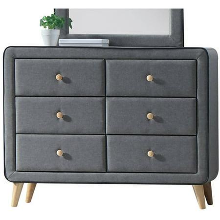 Acme Furniture Valda Light Gray Fabric Dresser with Six Drawers Northern Lights Drawer Dresser