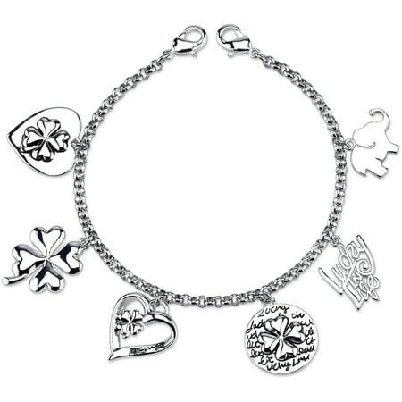 Clovers Magnetic Bracelet - Stainless Steel Lucky Clover Heart Charm Link Bracelet, 7.5
