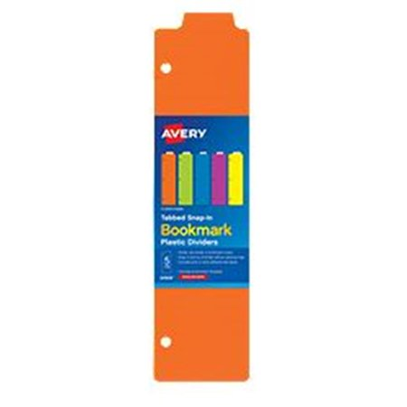 Solids 90 Tabs (Avery-Dennison 24908 5 Tabbed Snap-In Bookmark Plastic Dividers, Assorted Solid Color, 3 x 11. 5 inch )