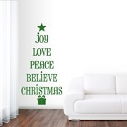 Sweetums Christmas Tree Words Wall Decal 10 inches wide x 20 inches tall