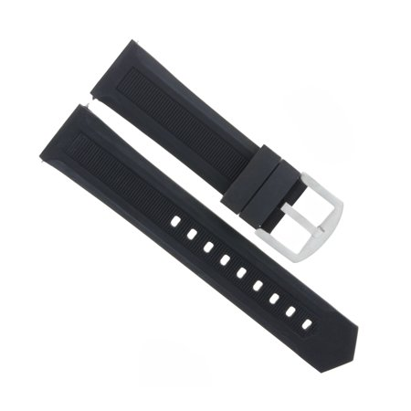 24MM RUBBER WATCH STRAP BAND FOR BREITLING NAVITIMER, SUPEROCEAN WATCH BLACK