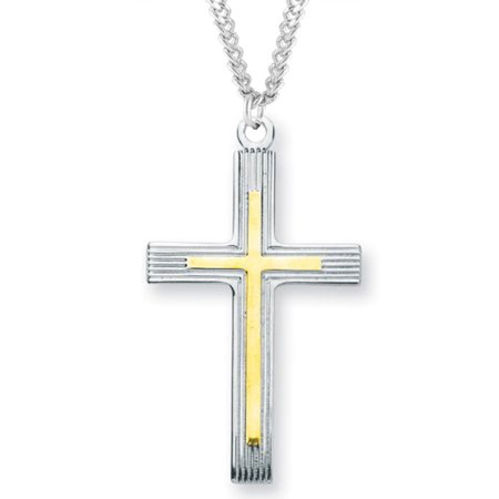 Men's Sterling Silver Two Tone Cross Necklace with Etched Borders with 24