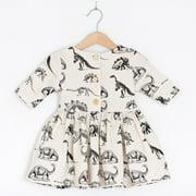 Summer Toddler Kids Baby Girls Sundress Dinosaur Dress Cotton Clothes
