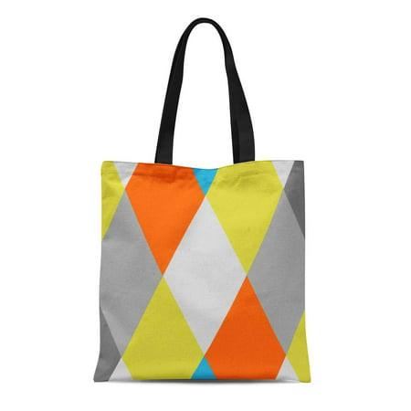 SIDONKU Canvas Tote Bag Custom Yellow Gray Orange Blue Modern Geometric Colors Diamond Reusable Handbag Shoulder Grocery Shopping Bags](Custom Reusable Grocery Bags)