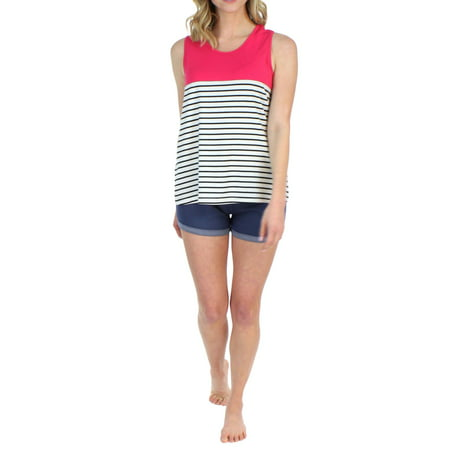 Frankie & Johnny Women's Tank Top and Soft Denim Shorts Set