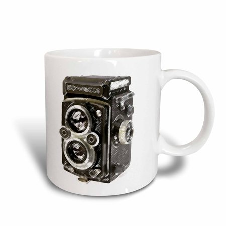3dRose Picture of a Vintage Twin Lens reflex TLR camera, Ceramic Mug, 15-ounce