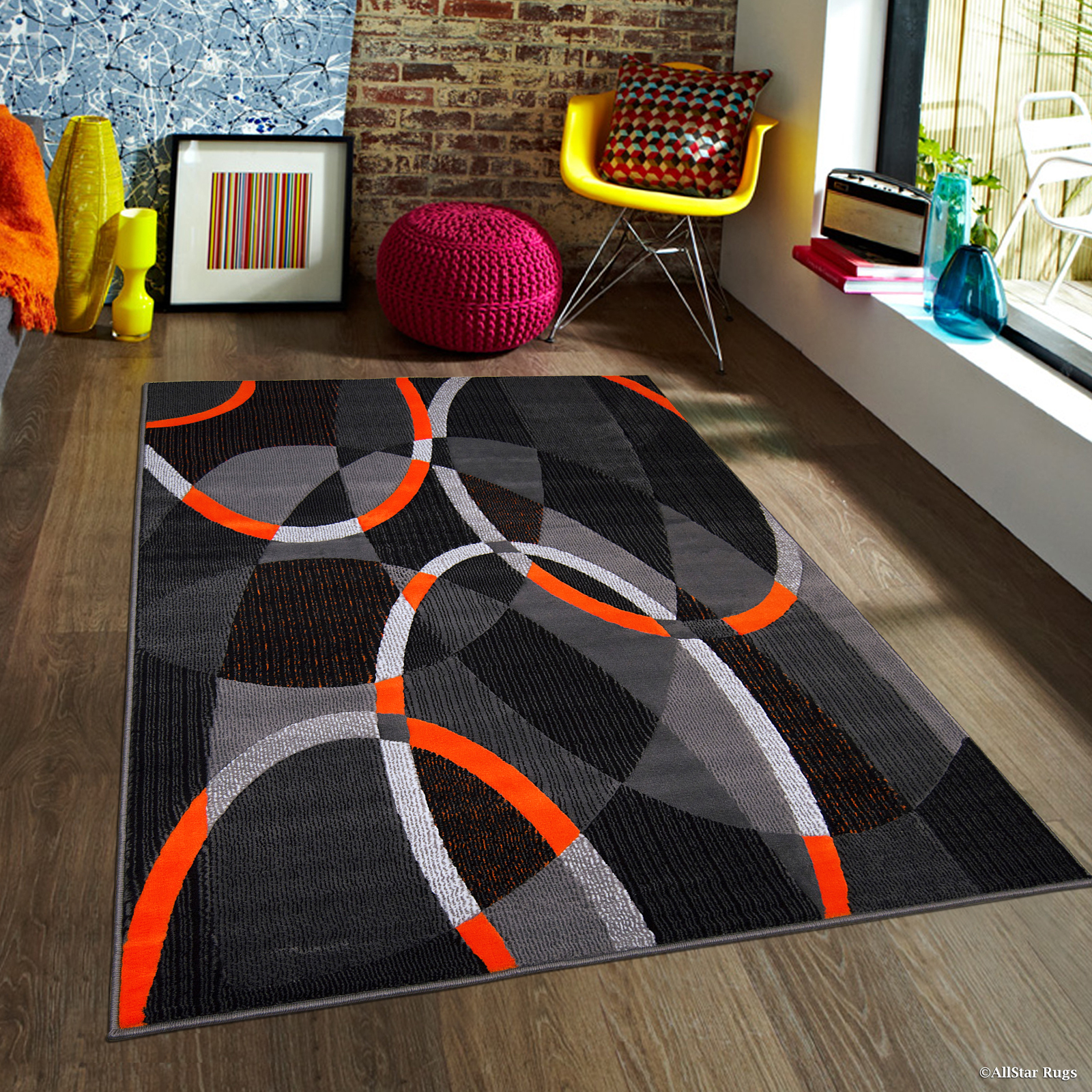 "Orange AllStar Modern. Contemporary Woven Area Rug. Drop-Stitch Weave Technique. Carved Effect. Vivid Pop Colors (5' x 6' 11"")"