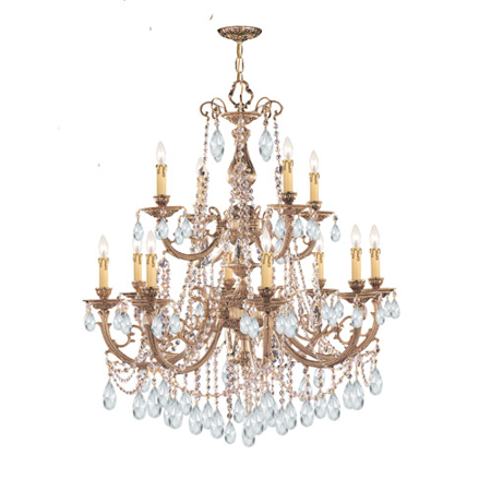 Chandeliers 8 Light With Olde Brass Clear Spectra Crystal Cast 32 inch 480 Watts - World of Lighting