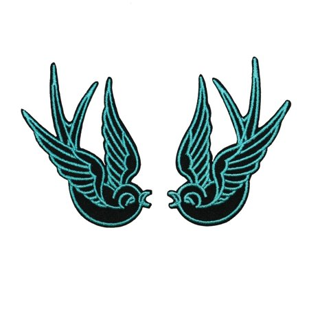 Set of 2 Blue Swallow Bird Patch Tattoo Sparrow Embroidered Iron On - Tattoos Of Birds