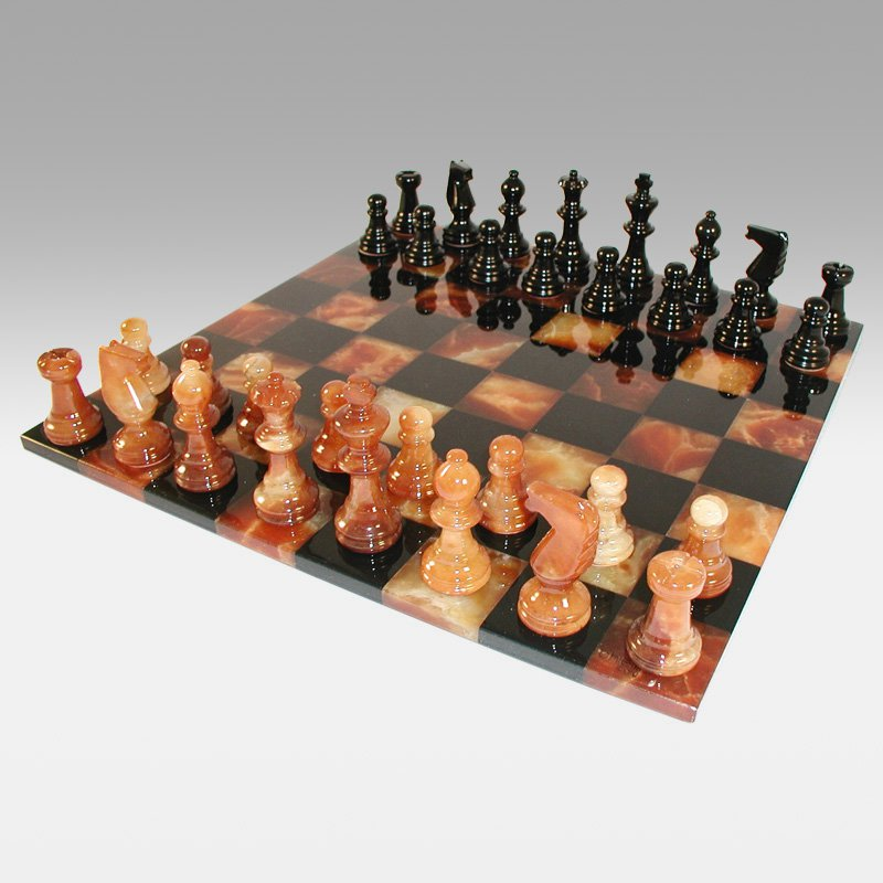 Black and Brown Alabaster Chess Set