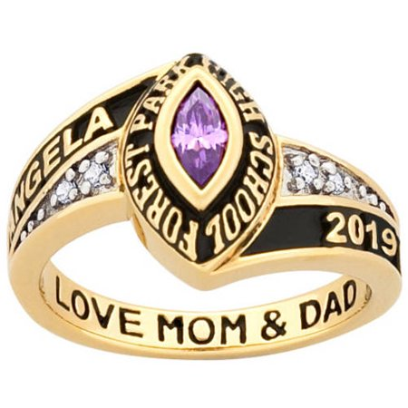 Personalized Women's 18kt Gold over Silver Marquise Birthstone and CZ Class Ring