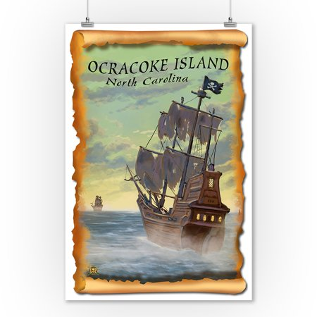Ocracoke Island, North Carolina - Pirate Ship - Lantern Press Poster (9x12 Art Print, Wall Decor Travel Poster)