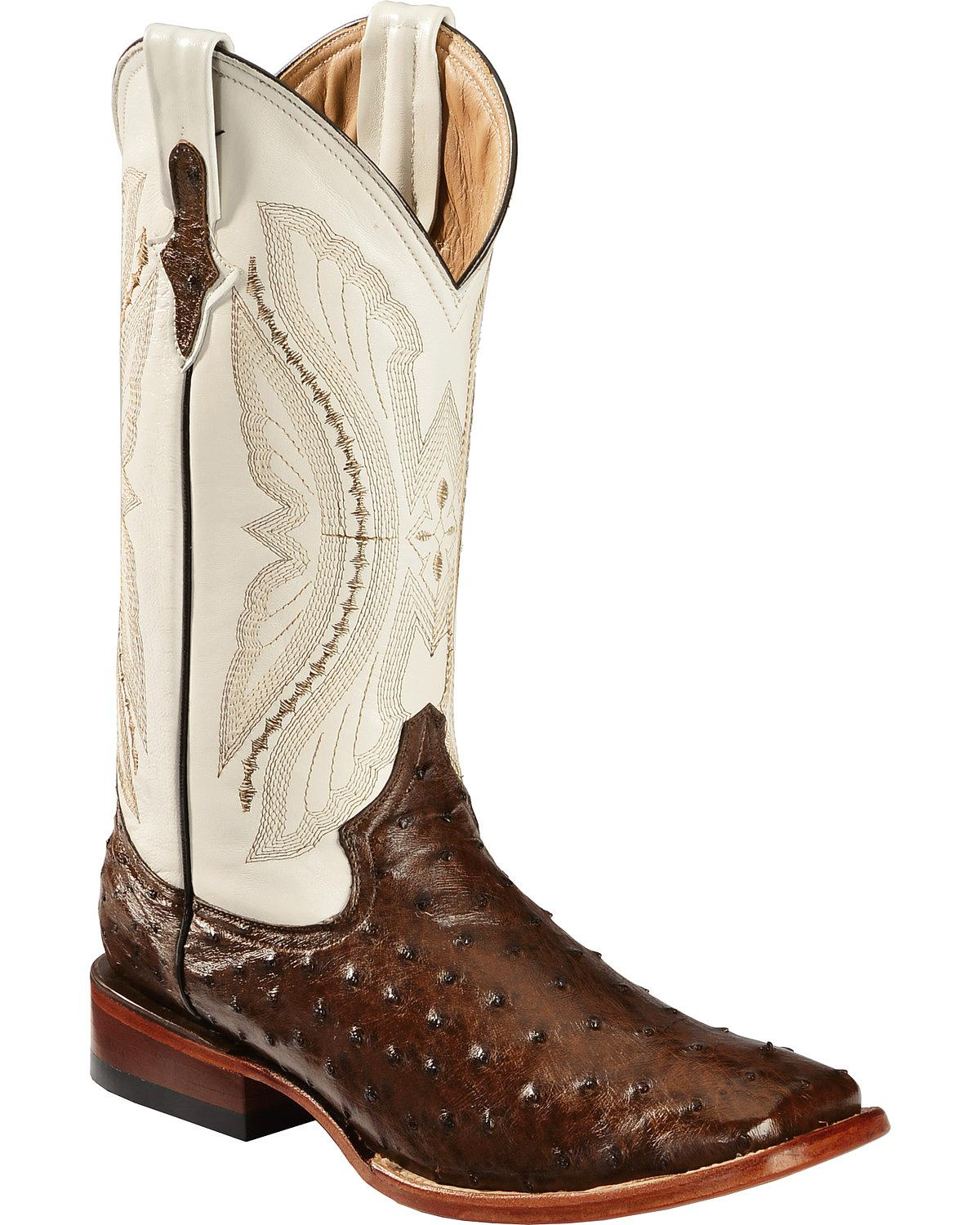Ferrini Men's Full Quill Ostrich Cowboy Boot Wide Square Toe 1019307 by Ferrini