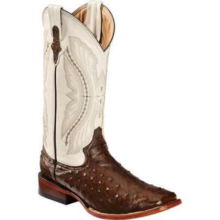 Men's Full Quill Ostrich Cowboy Boot Wide Square Toe - 1019307