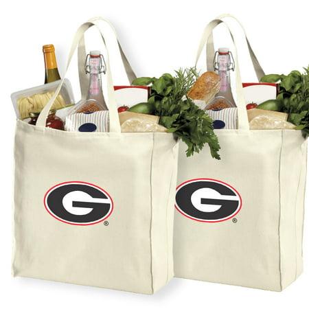 (University of Georgia Shopping Bags or Cotton Georgia Bulldogs Grocery Bags - 2 Pc Set)
