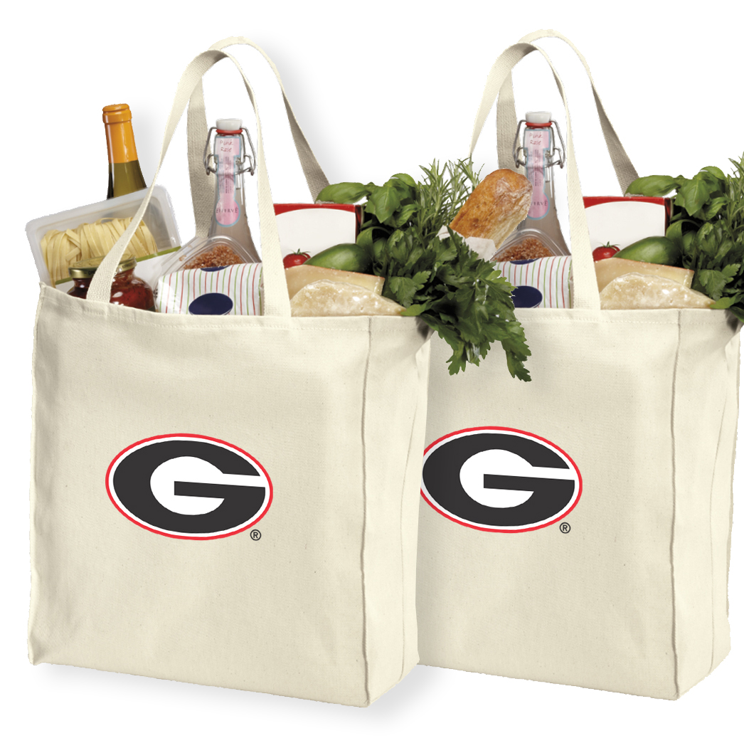University of Georgia Shopping Bags or Cotton Georgia Bulldogs Grocery Bags - 2 Pc Set