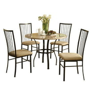 ACME Furniture Darell 5-Piece Faux Marble and Microfiber Dining Set