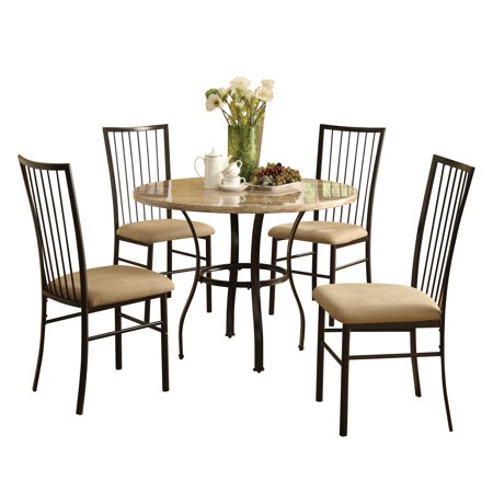 Acme Furniture Darell 5pc Faux Marble And Microfiber Dining Set