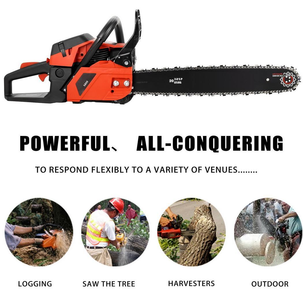"""Clearance!!Hifashion 58CC Chainsaw 20"""" 4.0HP 2 Strokes Gas Powered Petrol Chainsaw Saw Blade With Chains,... by"""