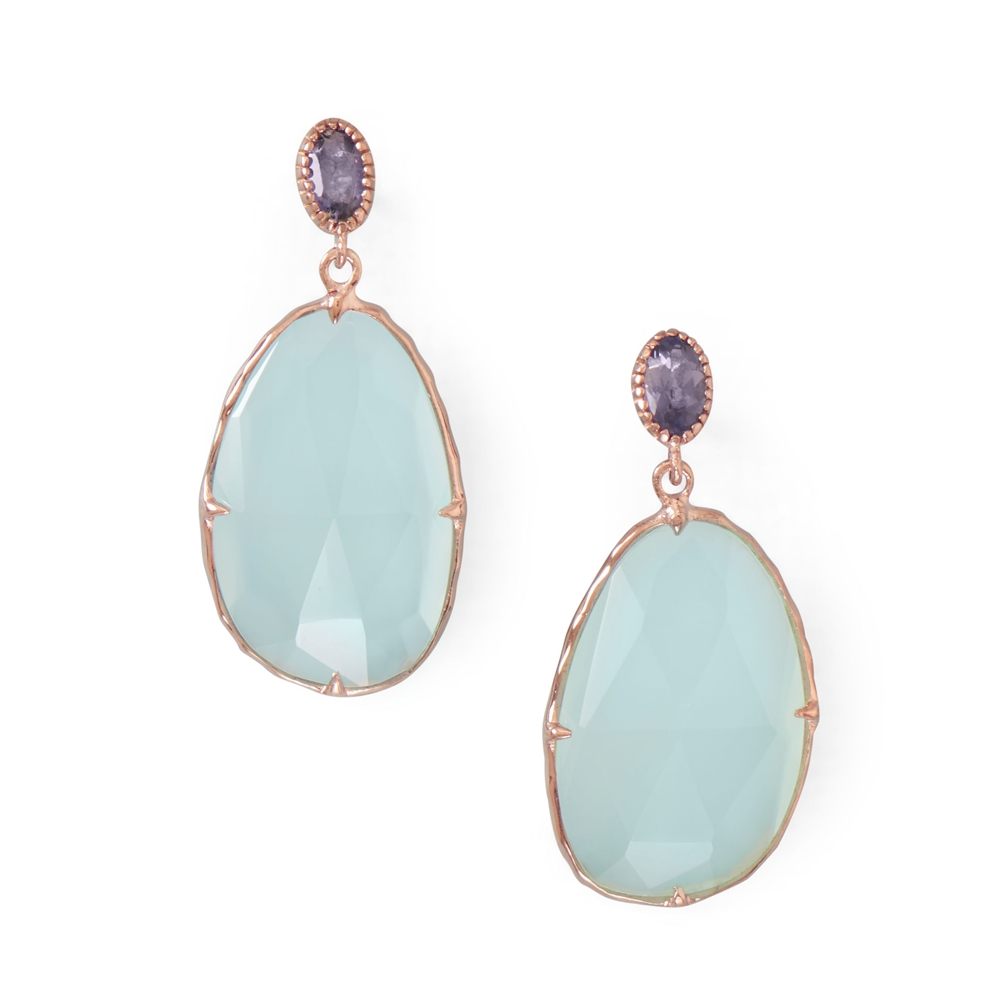 Blue Sea Chalcedony Earrings Rose Gold-plated Sterling Silver with Iolite Studs by unknown