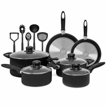 Bent Pot - Best Choice Products 15-Piece Nonstick Aluminum Stovetop Oven Cookware Set for Home, Kitchen, Dining with 4 Pots, 4 Glass Lids, 2 Pans, 5 BPA Free Utensils, Nylon Handles, Black