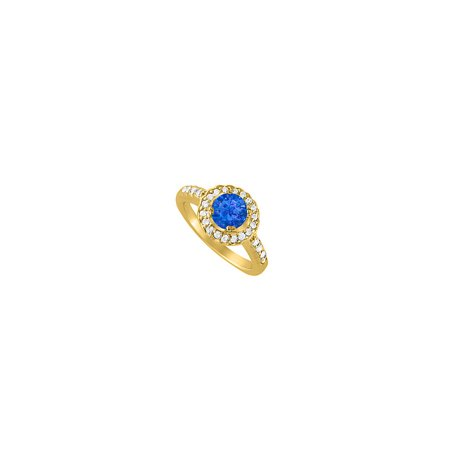Halo Engagement Ring September Birthstone Sapphire with Cubic Zirconia 18K Yellow Gold Vermeil - image 1 of 2